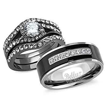 Bellux Style Couples Wedding Rings Set for Him and Her 1 Carat Engagement Wedding Rings with Matching Wedding Band  Women s Size 07 & Men s Size 13