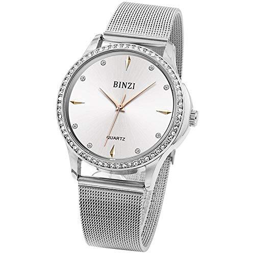 WHEatch Reloj de Pulsera Reloj de Marca BINZI para Mujer, Relojes de Pulsera de Lujo para Mujer, Relojes de Malla de Acero Dorado Rosa para Mujer, Reloj Femenino, Reloj Azul Xfcs