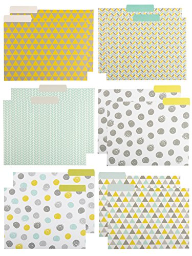 Paper Junkie Decorative File Folders with Geometric Design, Letter Size (9.5 x 11.5 Inches, 12-Pack)