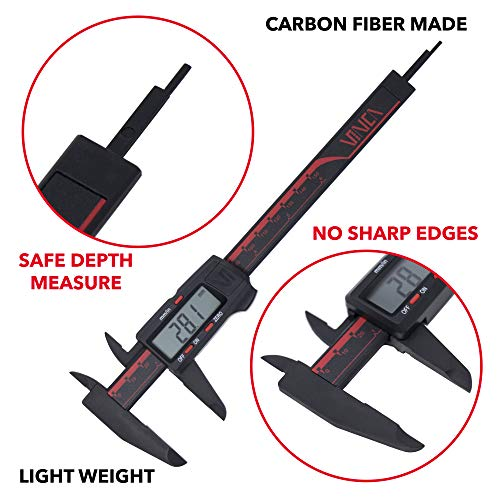 VINCA DCPA-0605E Electronic Digital Nylon Vernier Caliper Inch/Metric Conversion 0-6 Inch/150 mm Red/Black Extra Large LCD Screen Auto Off Featured Measuring Tool