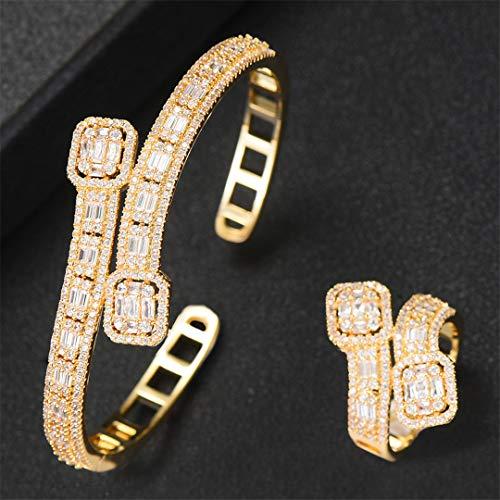 ZIRCOSHNY - Conjunto de anillos de boda para mujer con circonita cúbica dorada