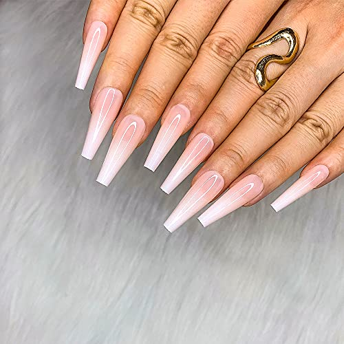 Morily 24pcs Fake Nails Nude White Ombre Ballerina Long Coffin Glossy Press on Nail False Tips Artificial Finger Manicure for Women and Girls