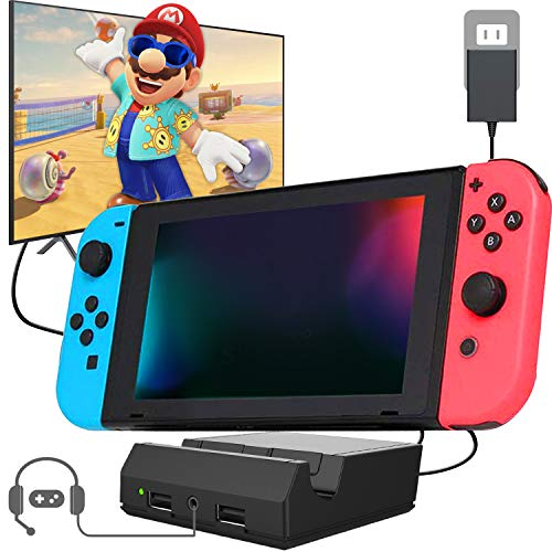 Nintendo Switch Dock Portable Switch Charging Dock TV Switch Docking Station Replacement for Nintendo Switch with 4K HDMI USB 3.0 Port and 3.5 Headphone Jack 2020 Upgraded Version (Black)…
