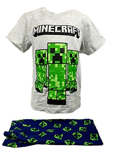 Javoli Passend zu Minecraft: Schlafanzug Creeper Steve Pyjama kurz grau Gr. 140