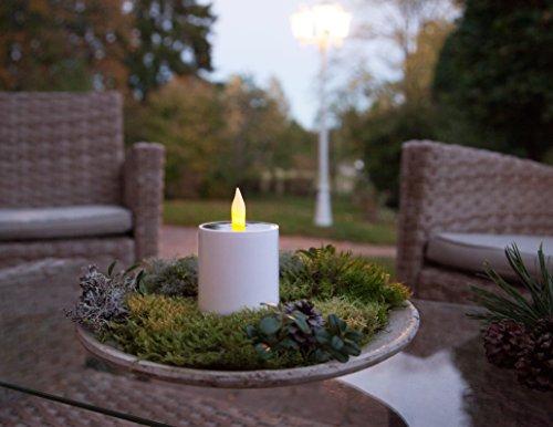 Kamaca LED SOLAR Kerze TEELICHT Laterne mit Dämmerungssensor in Weiss mit 1 Amber LED flackernd mit Solar Panel Outdoor (1 x LED Kerze groß 11,5x7,3 cm)