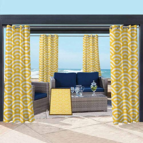 ParadiseDecor Yellow and White Modern Window Curtains for Garden Drapes Porch Gazebo Curtains Horizontal Abstract Sea Ocean Waves Summer Beach Coast Holiday Theme Marigold White 108W x 63L Inch