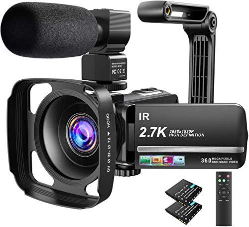 Cámara de vídeo 2.7K Ultra HD YouTube Vlogging Camera 36MP IR Visión nocturna grabadora digital 16X zoom digital de 3 pulgadas IPS pantalla táctil Videocámara con micrófono, parasol de objetivo