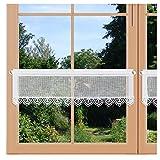 artex deko Landhaus-Scheibengardine Reni Feenhausgardine mit Stickerei Spitzenkante 6 cm und Stangendurchzug