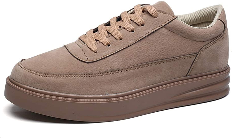 Shangruiqi Athletic shoes for Men Sports shoes Lace Up Style Microfiber Leather Pure colors Outsole Comfortable AntiWear (color   Khaki, Size   6.5 UK)