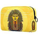 Neceser Maquillaje Portátil Faraón de Egipto Vintage Bolsa de Maquillaje Organizador de Maquillaje Bolso de Cosméticos de Viaje para niñas y Mujeres 18.5x7.5x13cm