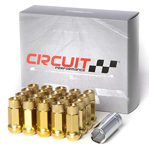 Circuit Performance Forged Steel Extended Open End Hex Lug Nut for Aftermarket Wheels: 12x1.5 Gold - 20 Piece Set + Tool