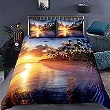 Feelyou Beach Duvet Cover Set King Size Summer Sea Ocean Bedding Set Hawaiian Tripocal Palm Tree Nature Comforter Cover Microfiber with 2 Pillow Shams,Zipper, 3D Print Soft Sunset 3 Pieces
