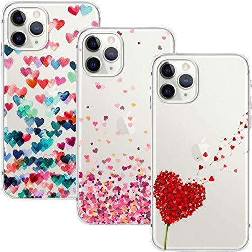 Young & Min Funda para iPhone 12 / iPhone 12 Pro 6,1'', (3 Pack) Transparente TPU Silicona Carcasa Delgado Antigolpes Resistente, Amor