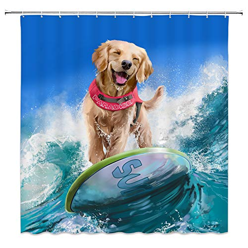 AMFD Creative Dog Surfing at Sea Shower Curtain Cute Pet...