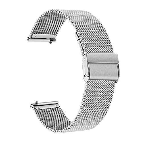 XXY Reloj De Reloj para Garmin Venu SQ Music Milanés Correa para Forerunner 645 245M Reemplazo De Pulsera Inteligente (Color : Silver)