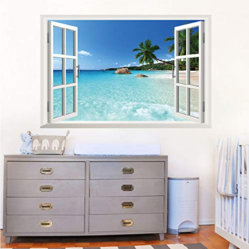 ZXFMT Valse raamsticker 3D valse ramen strand rotsen bomen blauw zielandschap achtergrond woonkamer slaapkamer muursticker verwijderbaar waterdicht