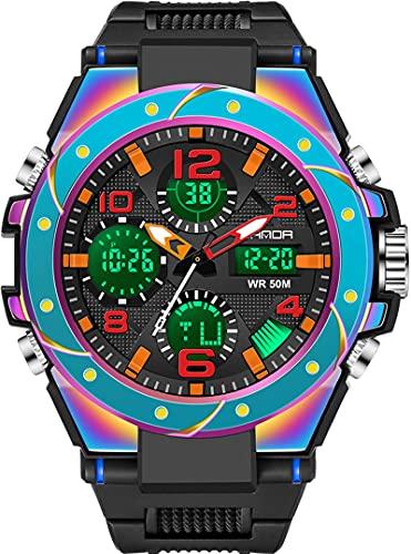 Reloj deportivo digital militar para hombre, pantalla grande, resistente al agua hasta 5 ATM, con despertador, calendario, cronómetro, cronógrafo, Color azul.,