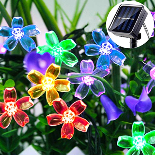 LiyuanQ Solar String Lights Outdoor Garden, Blossom Solar Garden Fairy Flower Lights 30 LED 8 Modes Waterproof String Lights for Patio Christmas Tree Lawn Party Thanksgiving Decoration (Multicolour)