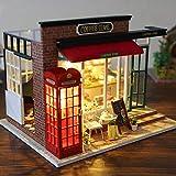 Enjoyyouselves DIY Dollhouse Furniture Set Miniatura 3D Casa de Madera de Madera con Movimiento Musical Mini House Room Kits de artesanía Luces LED Coffee House Cumpleaños Regalo de San Valentín
