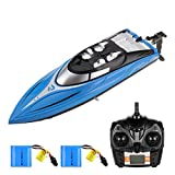 Powerextra H108 Remote Control Boat, High Speed Rc Boat for Pools and Lakes, 20+ MPH 2.4 GHz Racing Boats for Adults with 2 Rechargeable Battery, Low Battery Alarm, Capsize Recovery