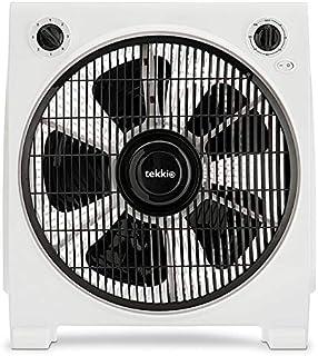 Tekkio Ventilador de Caja 30 Cm, 40W, 230V, 3 Velocidades, Temporizador, Difusor rotativo.