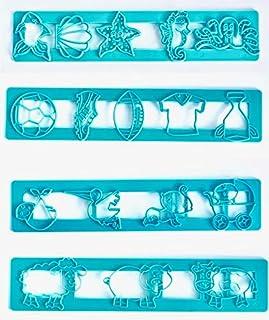 4 Styles of Fondant Gumpaste Molding Cutters Marine Seacreatures, Football Baseball, Farm Animals, Baby Infant Theme Fonda...
