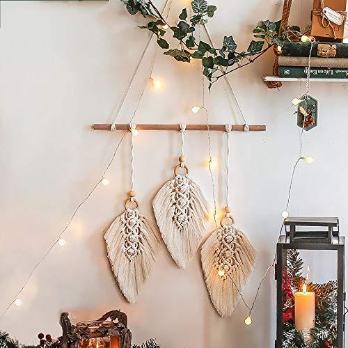 Tapices de macramé para colgar en la pared Tapices de estilo bohemio tejidos a mano, para regalos Dormitorio Sala de estar Dormitorio Decoración del hogar Decoración de la boda, 45 x 90 CM (Beige)