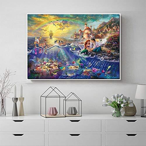 BailongXiao Océano pez Princesa Pintura al óleo océano clásico Mundo Cuento de Hadas Cartel Sala de niños Corredor jardín de Infantes Pintura de Arte,Pintura sin Marco,80x120cm