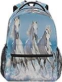 Ocean Running White Horse School Mochila personalizada para niños y niñas, con gran capacidad, bolsa de viaje, mochila escolar, bolsa de libros, senderismo, camping