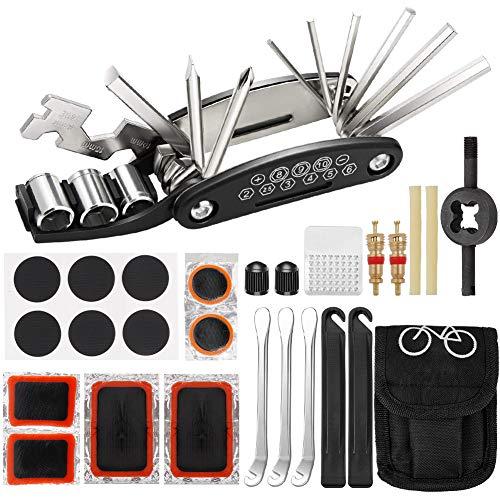 fanshiontide Kit de Reparación de Bicicletas, Kit de Herramientas Multifuncional 16 en 1 para Bicicletas Kit de Reparación Conveniente para Bicicleta