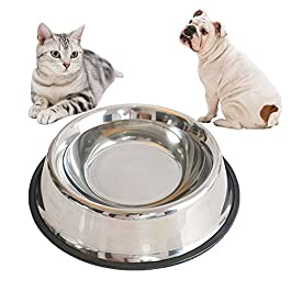 timeracing Pet Dog Cat Stainless Steel Non Slip Feeding Food Water Dish Feeder Bowl