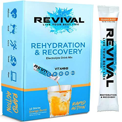 Revival, Rehidratación Rápida: Polvo de electrolitos - Potente Suplemento de Vitamina C, Bebida de Rehidratación, Tabletas Efervescentes para la Hidratación y Resaca Cura - Naranja 12 Paquete
