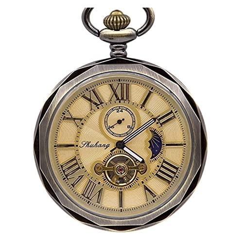 TYYW Lujo Fase de la Luna Mecánica Reloj de Bolsillo Número Romano Tourbillon Dial Colgante Cadena Hombres Mujeres