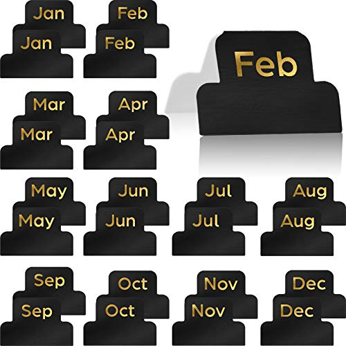 24 Pieces Adhesive Tabs Designer Accessories Monthly Tabs Planner Stickers Decorative Monthly Index Tab for Office Study Planners Organizations (Black)