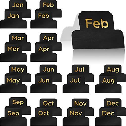 24 Stücke Klebend Tabs Designer Zubehör Monatliche Registerkarten Planer Aufkleber Dekorativ Monatlich Index Tab zum Büro Studie Planer Organisationen (Schwarz)