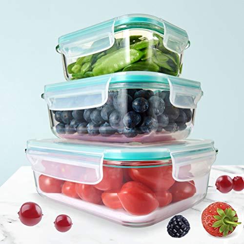 Dipmi Glas Frischhaltedosen Set mit Deckel [3er Set] I Eckige Glasdose mit Deckel für Mikrowelle BPA frei I Glasbehälter, Vorratsdose, Meal prep