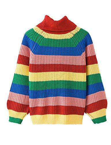 Señoras Mujeres Holgado Cuello Redondo Jersey de punto a rayas horizontales contraste de gran tamaño