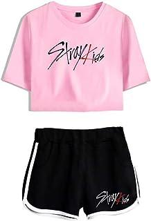 FEIRAN Stray Kids Boy Band Short Shorts de Manga Corta para Mujer y niña Top + Shhort Set C Powder + Black XS