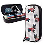 Scottie Dog with Bagpipes Pencil Case - Large Capacity PU Leather Pencil Pouch Stationery Organizer Multifunction Cosmetic Makeup Bag Coin Bag Perfect Holder for Pencils and Pens
