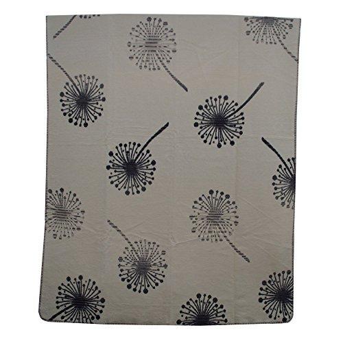 Richter Textilien Decke Pusteblume 150 x 200 cm Bio-Baumwolle Rauchgrau