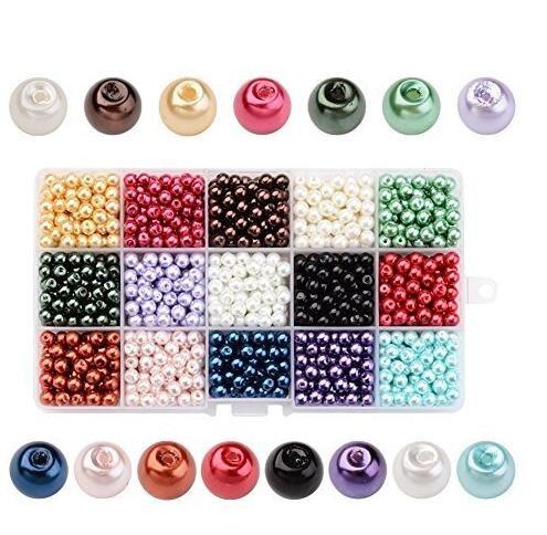 PandaHall 1275PCS 15 Colori 6mm Perline di Vetro Perline Colorate Perline Rotondo Perle per Bigiotteria Gioielli Fai da Te, Colore Misto, Foro: 1mm, Circa 85pcs / Colore