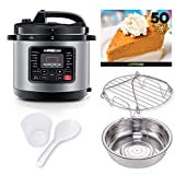 GoWISE USA GW22703 12-in-1 Multifunctional Electric Pressure Cooker with Measuring Cup, Spoon, and Stainless-Steel Steam Rack and Basket, 6-QT