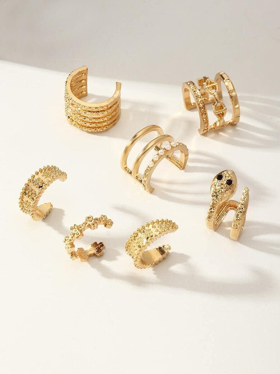 frenma Hoop Earrings 7pcs Alloy Ear Cuff (Color : Gold)