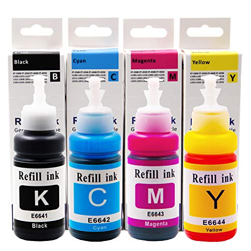 Topcolor 4X 70ml Compatible Refill Ink 664 T664 (T6641 T6642 T6643 T6644) Bottle Printer Ink Compatible with Expression Ecotank ET-2550 ET-4550 ET-2500 ET-4500 ET-2650 ET-3600 ET-16500 L100 Printer