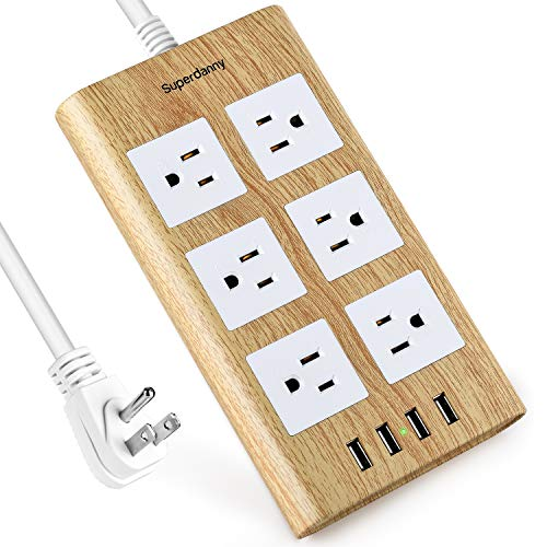 15A Surge Protector Power Strip, SUPERDANNY 9.8ft White Extension Cord Flat Plug Desktop Charging Station Hub with 6 AC Outlet 4 USB Ports for iPhone iPad Home Office Dorm Room Hotel, Light Wood Grain