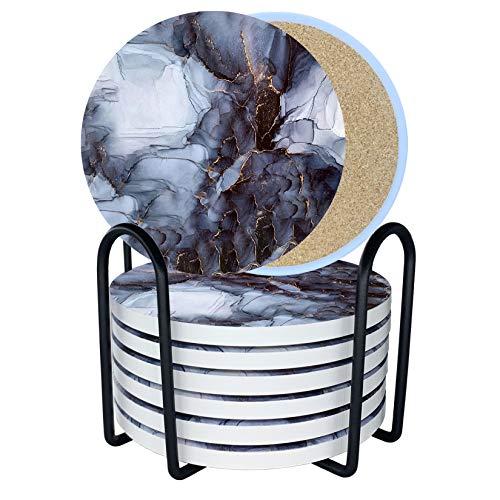 LuenHego Untersetzer Gläser 8er Set Saugfähige Keramik Untersetzer mit Korkboden/ Metallhalter, Design Glasuntersetzer für Heimdekoration, Getränkeuntersetzer für Holz-, Glas- oder Stein- Tischschutz