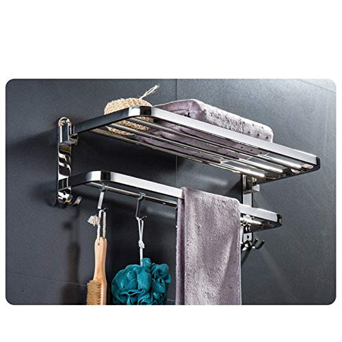 U-S-F BATH ACCESSORIES 304 Stainless Steel Folding Towel Rack Hanger and Holder for Bathroom (Chrome, 24 Inches, Pack of 1)