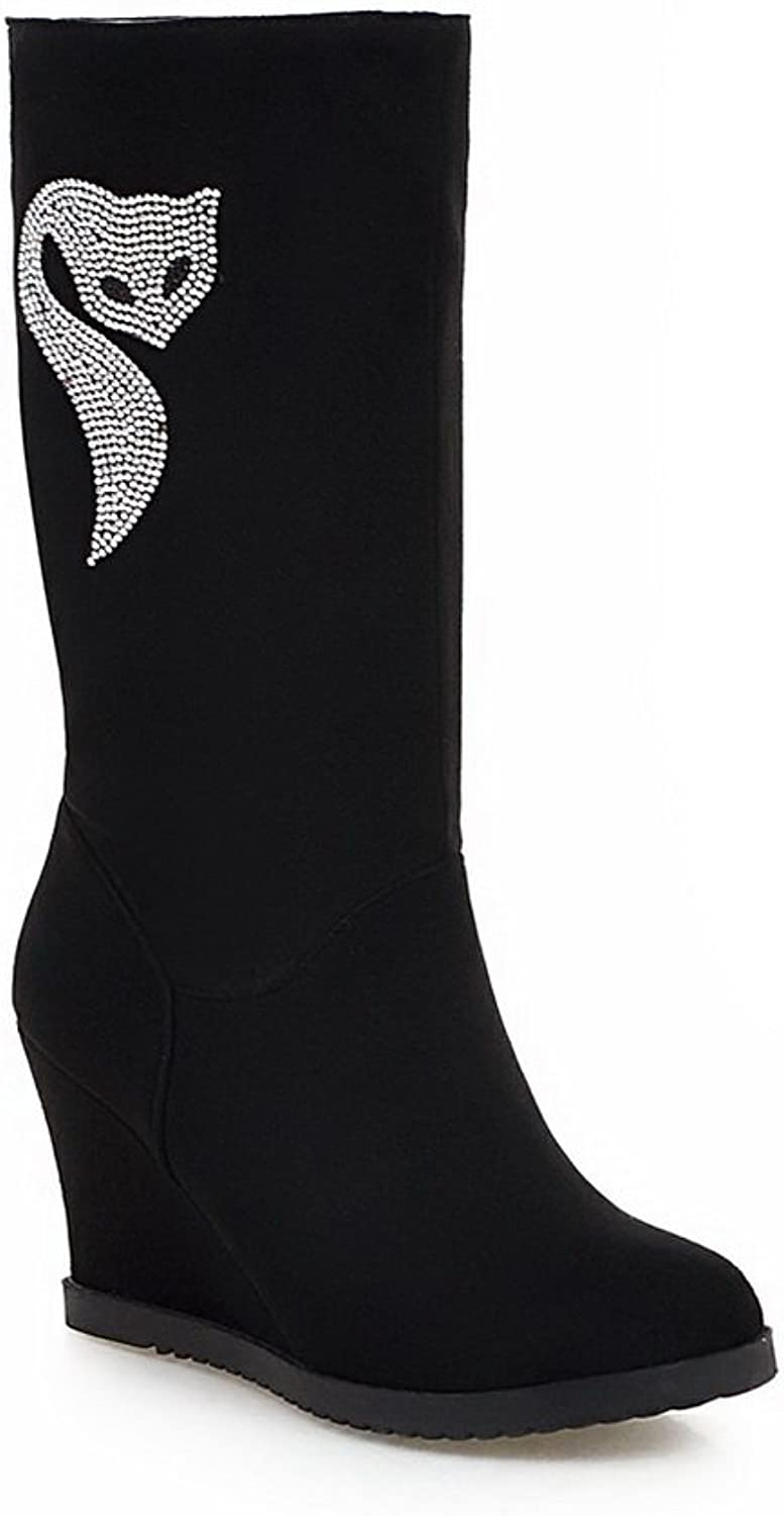 1TO9 Ladies Glass Diamond Heighten Inside Pull-On Cow Imitated Suede Boots