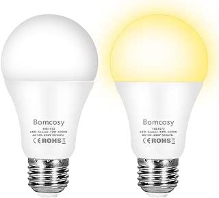 Bombilla con Sensor Crepuscular, Bomcosy Bombillas E27 LED Sensor, 12W Equivalente a 100W, Blanco frío 6000K, Amanecer hasta el Atardecer Encendido/Apagado Automático, Para Camino, Jardín 2 piezas