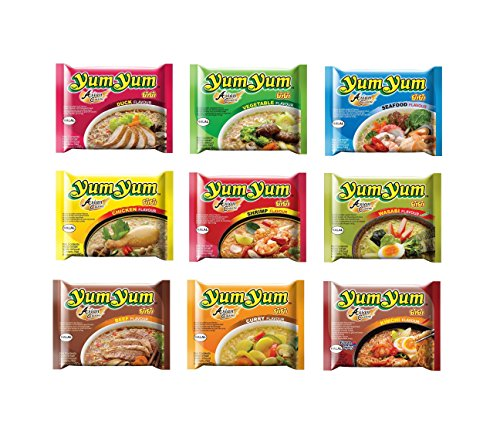 9 x 60g YumYum Instant Nudelsuppen Probierpaket Yum Yum Chicken Beef Duck Pamai Pai®